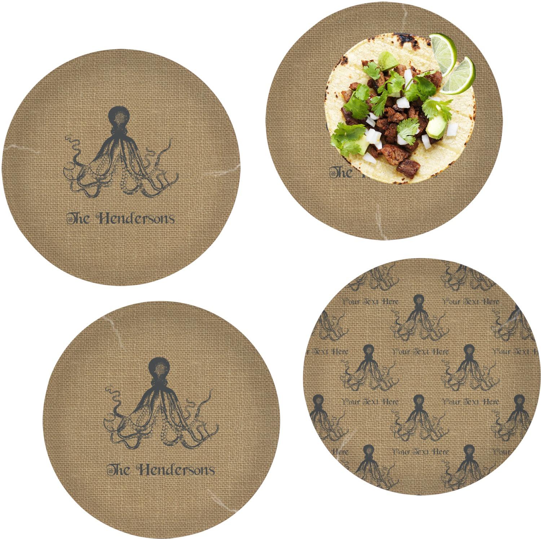 Octopus & Burlap Print Set of 4 Lunch / Dinner Plates (Glass ...