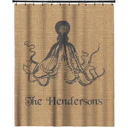 """Octopus & Burlap Print Extra Long Shower Curtain - 70""""x84"""" (Personalized)"""
