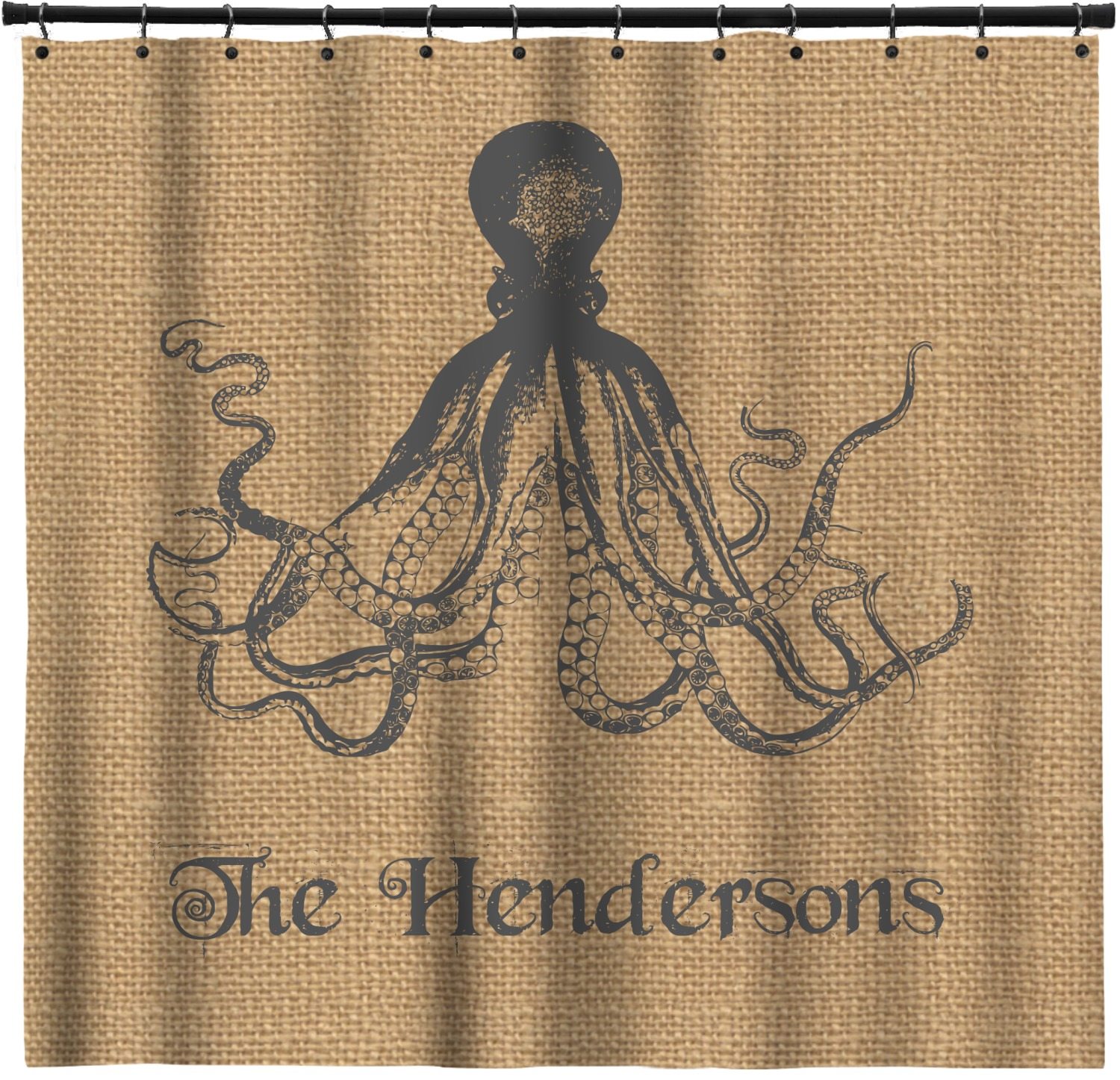 Octopus Burlap Print Shower Curtain Personalized