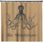 Octopus & Burlap Print Shower Curtain (Personalized)