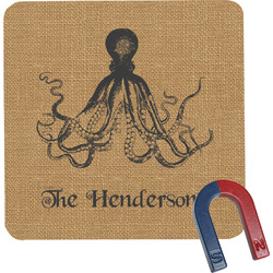 Octopus & Burlap Print Square Fridge Magnet (Personalized)