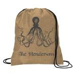 Octopus & Burlap Print Drawstring Backpack (Personalized)