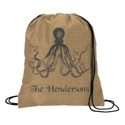 Octopus & Burlap Print Drawstring Backpack (Personalized)