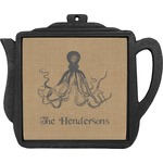 Octopus & Burlap Print Teapot Trivet (Personalized)