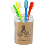 Octopus & Burlap Print Toothbrush Holder (Personalized)