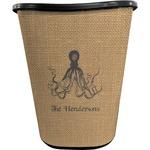 Octopus & Burlap Print Waste Basket - Double Sided (Black) (Personalized)