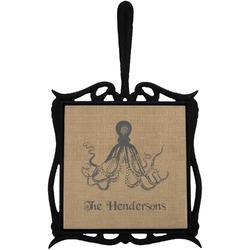 Octopus & Burlap Print Trivet with Handle (Personalized)