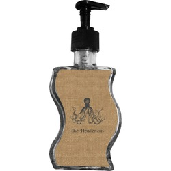 Octopus & Burlap Print Wave Bottle Soap / Lotion Dispenser (Personalized)