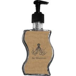 Octopus & Burlap Print Wave Bottle Soap / Lotion Dispenser (Personalized)