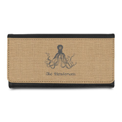 Octopus & Burlap Print Leatherette Ladies Wallet (Personalized)