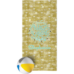 Happy New Year Beach Towel w/ Name or Text
