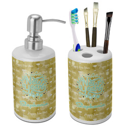 Happy New Year Ceramic Bathroom Accessories Set (Personalized)