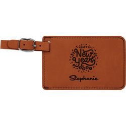 Happy New Year Leatherette Luggage Tag (Personalized)