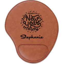 Happy New Year Leatherette Mouse Pad with Wrist Support (Personalized)