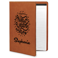 Happy New Year Leatherette Portfolio with Notepad (Personalized)