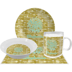 Happy New Year Dinner Set - 4 Pc w/ Name or Text
