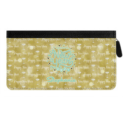 Happy New Year Genuine Leather Ladies Zippered Wallet w/ Name or Text