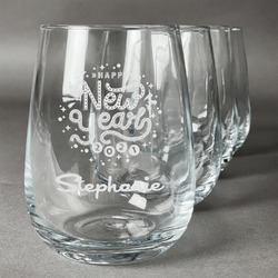 Happy New Year Stemless Wine Glasses (Set of 4) (Personalized)