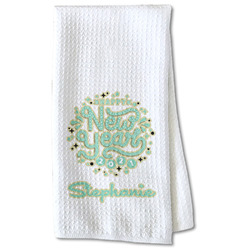 Happy New Year Waffle Weave Kitchen Towel - Partial Print (Personalized)