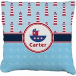 Light House & Waves Faux-Linen Throw Pillow (Personalized)