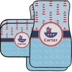 Light House & Waves Car Floor Mats Set - 2 Front & 2 Back (Personalized)