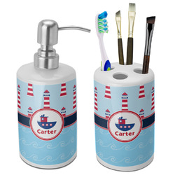 Light House & Waves Bathroom Accessories Set (Ceramic) (Personalized)