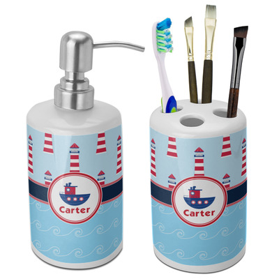 Light House & Waves Ceramic Bathroom Accessories Set (Personalized)