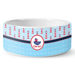 Light House & Waves Ceramic Dog Bowl (Personalized)