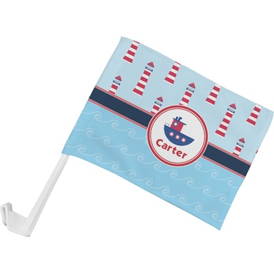Light House & Waves Car Flag (Personalized)