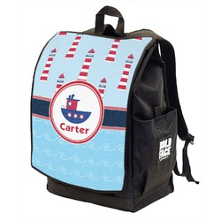 Light House & Waves Backpack w/ Front Flap  (Personalized)