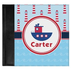 Light House & Waves Genuine Leather Baby Memory Book (Personalized)