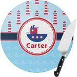 Light House & Waves Round Glass Cutting Board (Personalized)