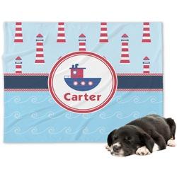 Light House & Waves Minky Dog Blanket - Large  (Personalized)