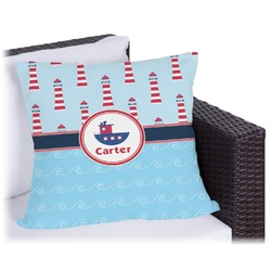 Light House & Waves Outdoor Pillow (Personalized)
