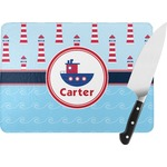 Light House & Waves Rectangular Glass Cutting Board (Personalized)