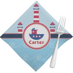 Light House & Waves Cloth Napkins (Set of 4) (Personalized)