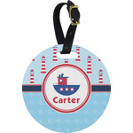 Light House & Waves Round Luggage Tag (Personalized)