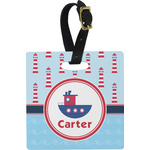 Light House & Waves Square Luggage Tag (Personalized)