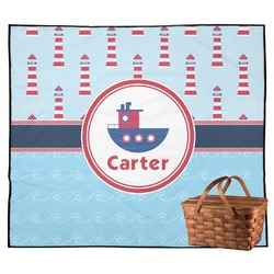 Light House & Waves Outdoor Picnic Blanket (Personalized)