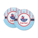 Light House & Waves Sandstone Car Coasters (Personalized)