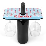 Light House & Waves Wine Bottle & Glass Holder (Personalized)