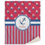 Sail Boats & Stripes Sherpa Throw Blanket (Personalized)