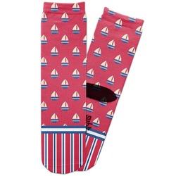 Sail Boats & Stripes Adult Crew Socks (Personalized)