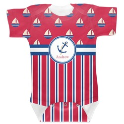 Sail Boats & Stripes Baby Bodysuit (Personalized)