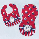 Sail Boats & Stripes Baby Bib & Burp Set w/ Name or Text