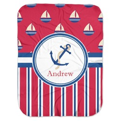 Sail Boats & Stripes Baby Swaddling Blanket (Personalized)
