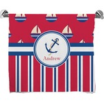 Sail Boats & Stripes Full Print Bath Towel (Personalized)