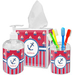Sail Boats & Stripes Acrylic Bathroom Accessories Set w/ Name or Text