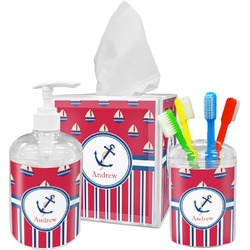 Sail Boats & Stripes Bathroom Accessories Set (Personalized)