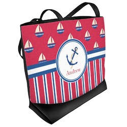 Sail Boats & Stripes Beach Tote Bag (Personalized)